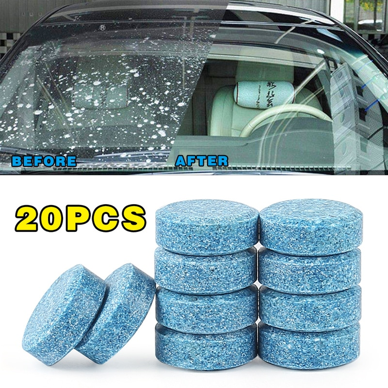 20PCS/Pack(20PCS=80L Water)Car Windshield Wiper Glass Car Washer Auto Solid Window Cleaner Effervescent Tablets Car Accessories