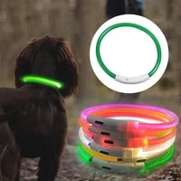led dog collar anti lostavoid car accident collar for dogs puppies usb charging dog collars leads led supplies pet supplies