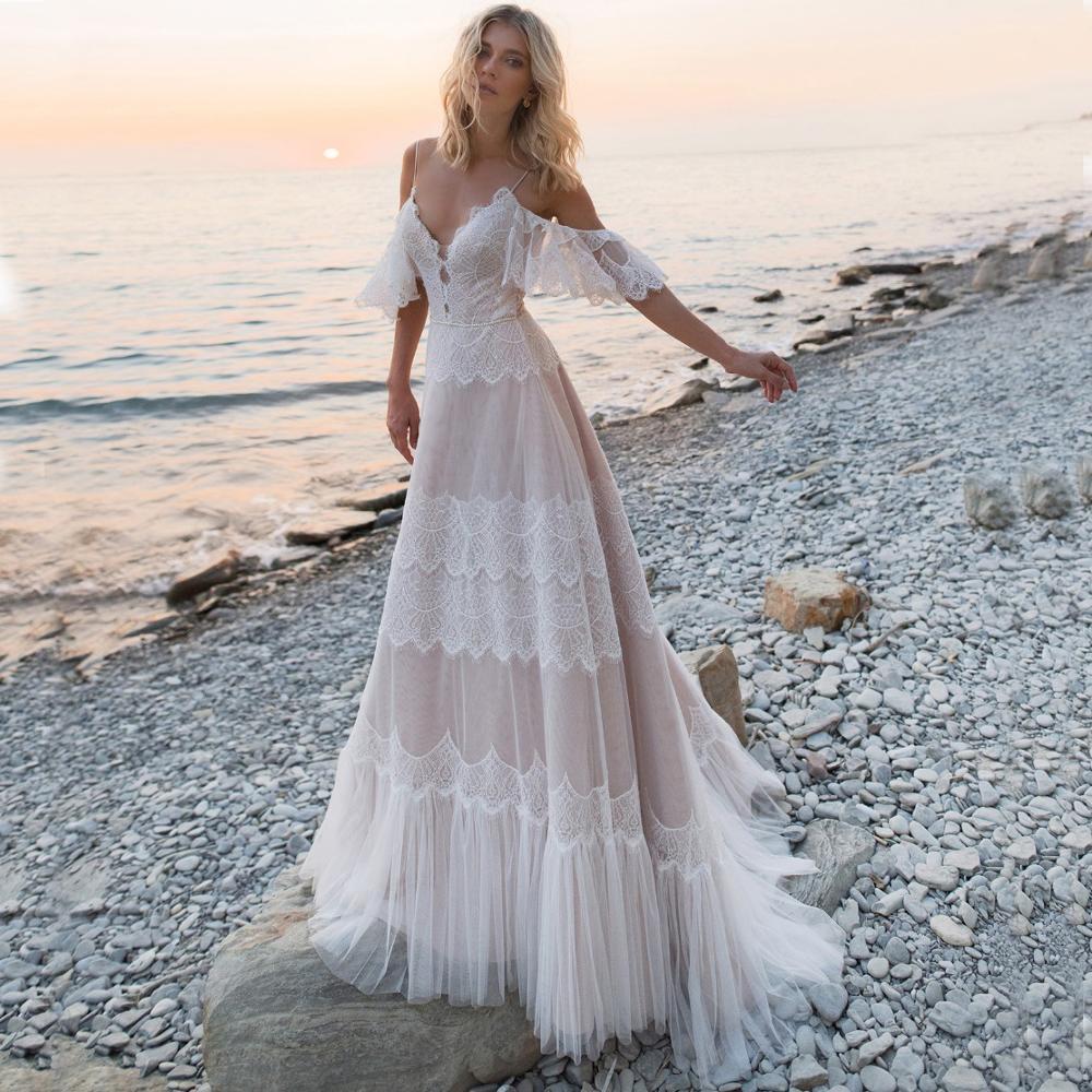Vestidos de novia Bohemia 2020 por debajo del hombro vestidos de boda de encaje Sexy sin espalda una línea vestido de novia A ser aliexpress Inicio de sesión