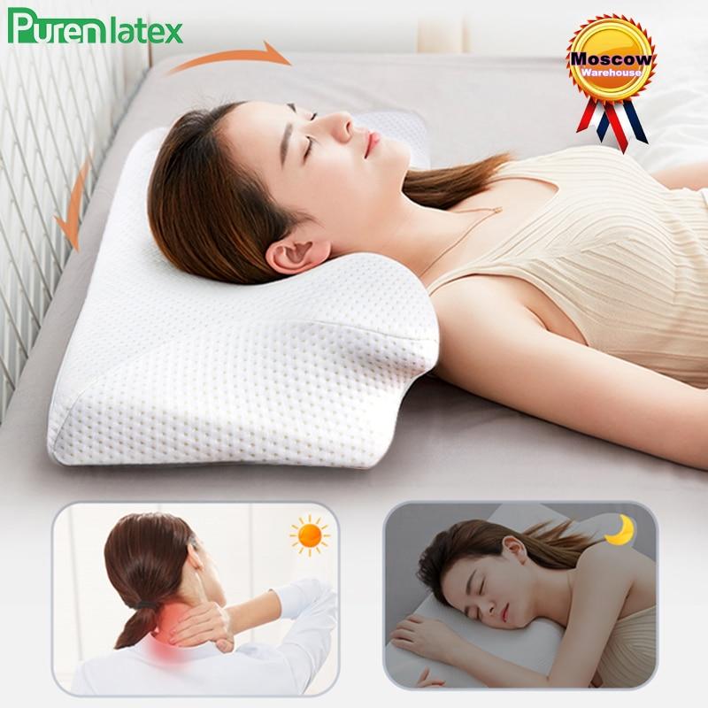 Purenاللاتكس 14 سنتيمتر كفاف رغوة الذاكرة وسادة عنق الرحم العظام آلام الرقبة وسادة ل الجانب الخلفي المعدة النائم الوسائد العلاجية
