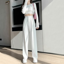 Women's White Suit Wide-Leg High Waist Drape Spring and Autumn 2021 New Straight Casual Pants Figure
