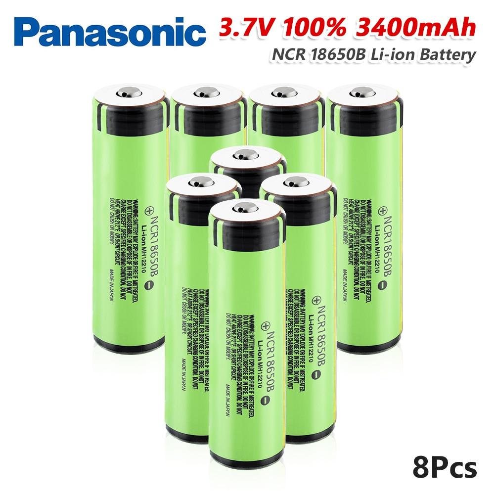 Panasonic 1/2/4/6/8/10x batería de litio recargable 3,7 v NCR18650B, batería de iones...