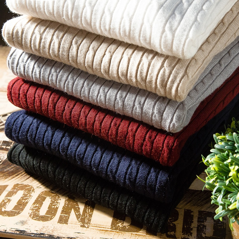 Теплый мужской свитер, зимняя уличная одежда, брендовый мужской свитер и пуловер, мужская приталенная трикотажная одежда, свитер с высоким ...