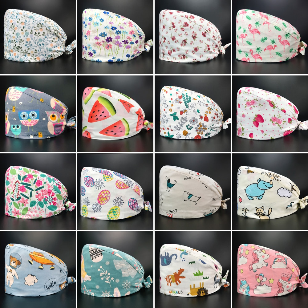 High quality fashion pure cotton flower printing medical surgical cap nurse hair care Baotou scrub c