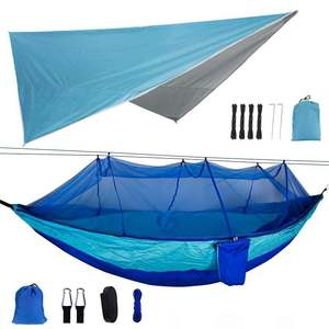 300x260cm Awning+260x140cm Double Person Camping Hammock Mosquito Net Hammock Withstand for Outdoors Backpacking Survival Travel