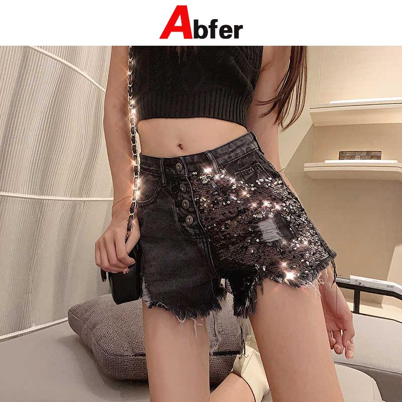 Abfer Summer New Tide Glitter Jean Shorts Female High Waist Wide Hot Pants Sequins Ripped Skinny Jeans For Women Plus Size Y2K