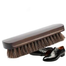 2019 cepillo de herradura para pulir zapatos, mango de madera, cuero Natural, pelo de caballo Real, herramienta suave para pulir botas, Herramientas de limpieza para pulir botas