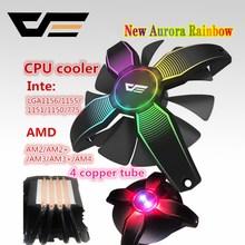 DarkFlash aigo PC CPU ventilador refrigerador 4 Heatpipes CPU ventilador del radiador de aluminio disipador de calor LGA775/1155/1156/1366/AM3/AM4