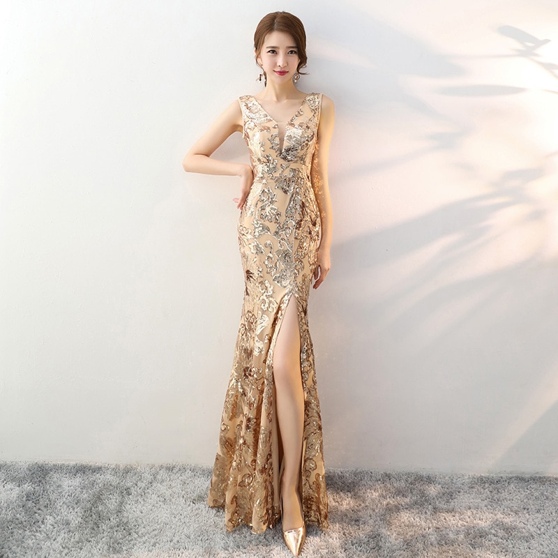 Wedding Qipao Sexy Long Robe Retro Fashion Party Evening dress Cheongsam Oriental Dress Chinese Style Women gold dress 2020