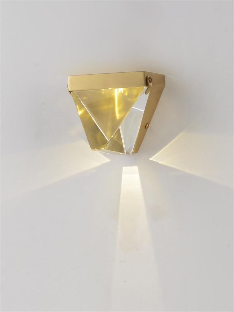 Lámpara de pared de cristal moderna, lámpara de pared de canal, lámpara de cabecera de dormitorio moderna, iluminación de pared de cobre puro Francés para el hogar