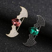 Bonito broche de cristal de murciélago para hombre, Pin de Collar de Animal, broches de circonio para mujer, broche de joyería para bufanda para Jersey, accesorios para traje, broche, Pin