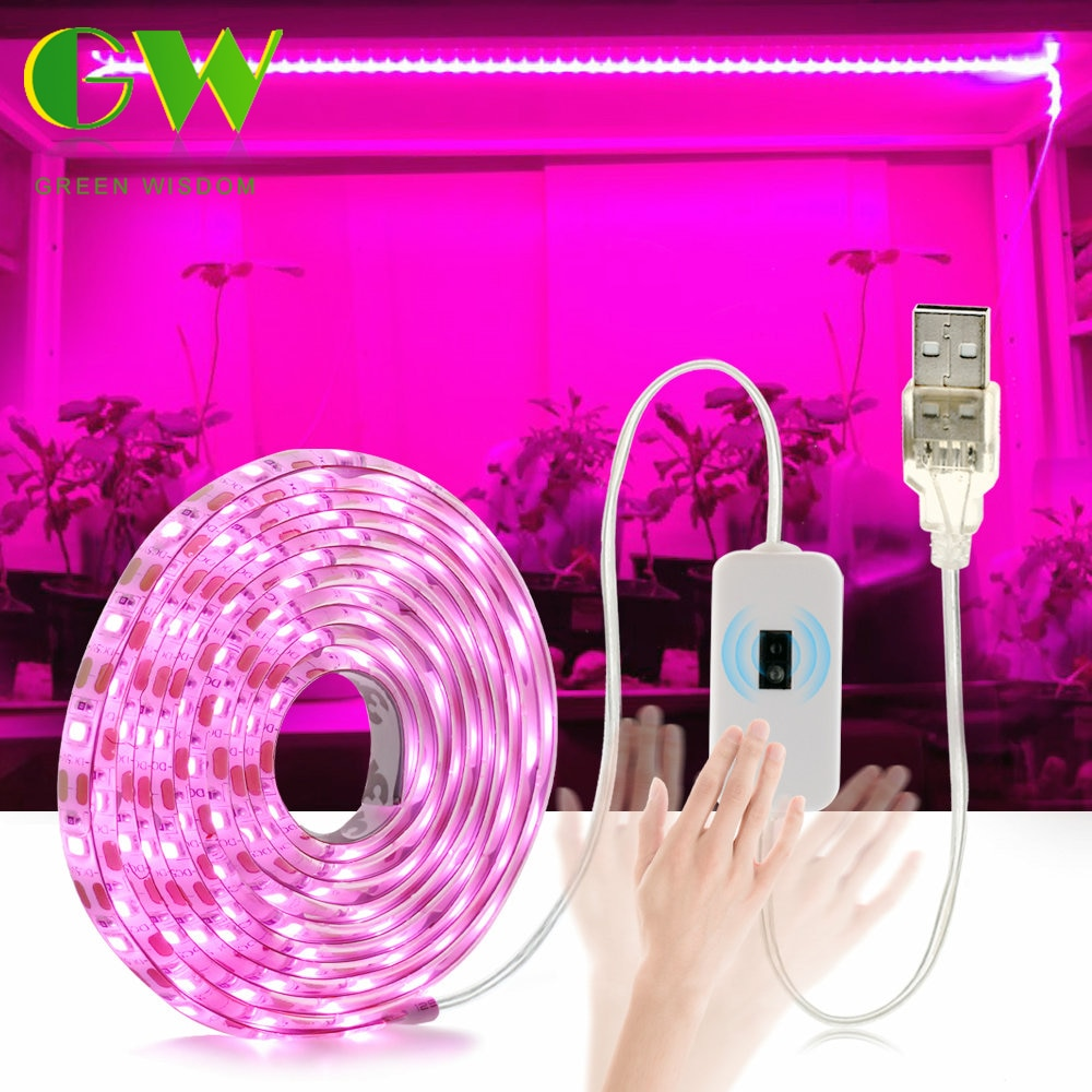 LED Grow Light Full Spectrum USB Grow Light Strip 0.5m 1m 2m 3m 2835 SMD DC5V LED Phyto Tape for See