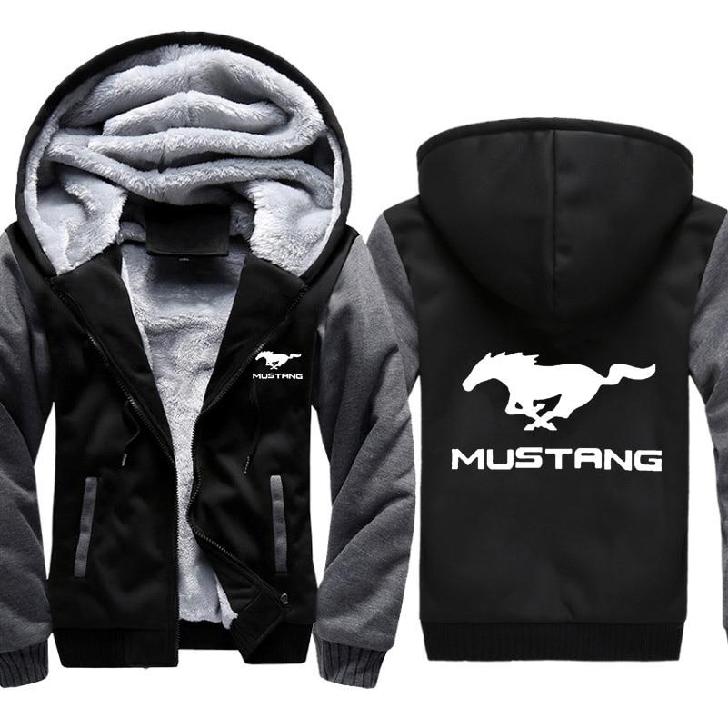 Hoodies Men Mustang Car Logo Print Jacket Mens Hoodies Winter Thicken Warm Fleece cotton Zipper Raglan Coat Male Tracksuits