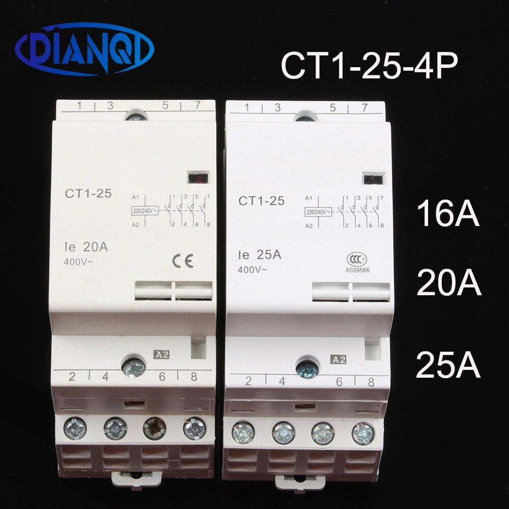 CT1-25 16a 20a 25a 4p 220v/230v 50/60hz trilho din casa ac contator modular 4no módulo de contato doméstico auxiliar de partida