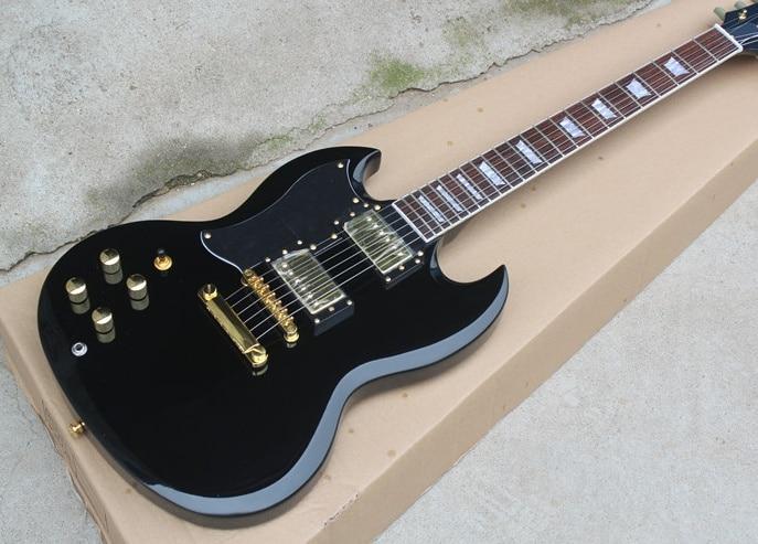 Sg-400 mão esquerda guitarra elétrica corpo preto rosewood fingerboard branco quadrado acessórios de ouro