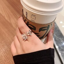 Japanese Style Mild Luxury Inlaid Zircon Wings Ring for Women Special-Interest Design Sweet Flowers