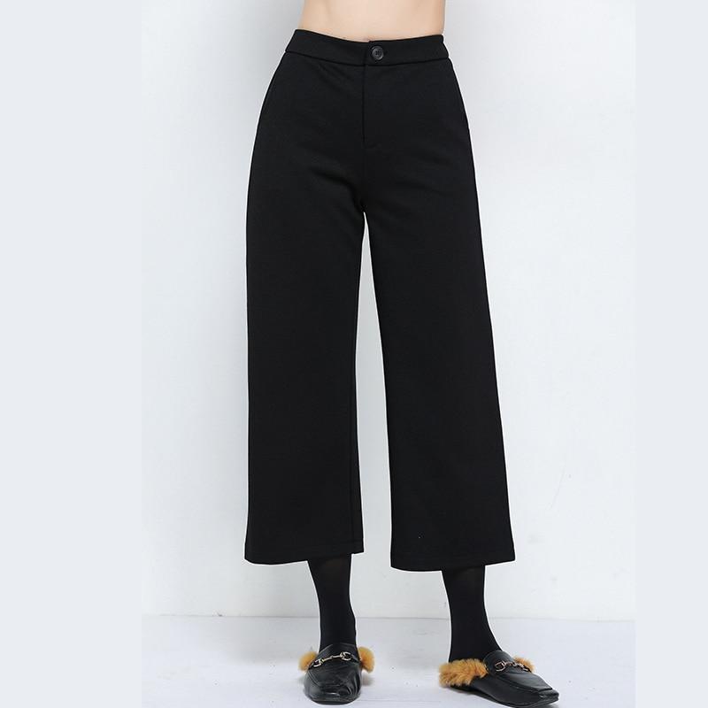 EC.MS siete pantalones invierno recto tubo pantalones lana recta negro L-5XL