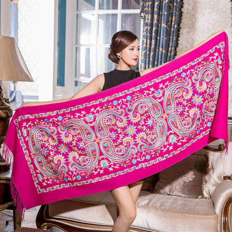 Gran oferta para mujer bordar flor Pashmina bufanda de cachemir de invierno cálido fino borlas bufanda de gran tamaño 200x70cm moda chal bufandas