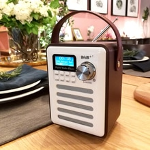 DAB 오디오 레코드 USB 블루투스 플레이어 LCD 디스플레이 디지털 라디오 핸즈프리 스테레오 MP3 휴대용 충전식 우드 레트로