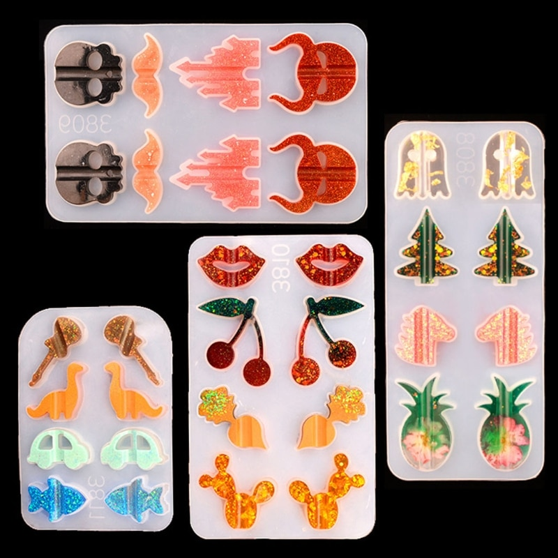 85LB Crystal Epoxy Resin Mold Fruit Animal Straws Decoration Buckle Silicone Mould DIY Crafts Jewelry Decorative Casting Tools