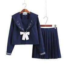 Японские школьные платья темно-синий моряк костюм с галстуком-бабочкой Косплей Аниме студентов плиссированные юбки для девочек Jk Униформа ...