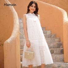 Marwin Long Simple Casual Solid Hollow Out Pure Cotton Holiday Style High Waist Fashion Mid-Calf Sum