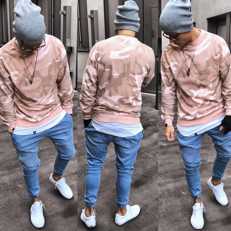 Новые модные мужские синие узкие джинсы в стиле хип-хоп, брюки для бега, мужские Стрейчевые рваные узкие байкерские джинсы, облегающие джинс...