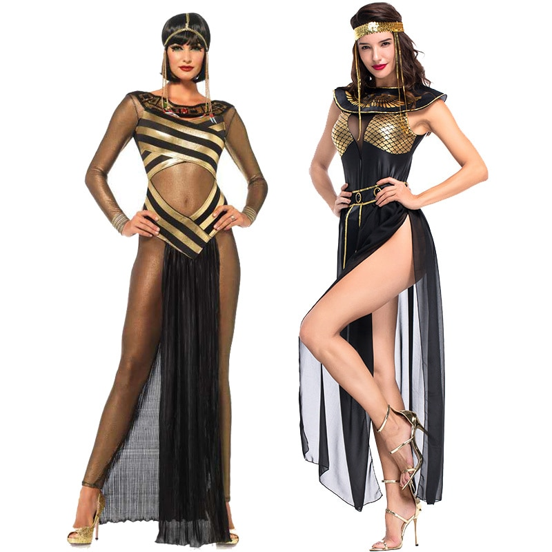 Hot Carnival party Cleopatra costume women adult Egyptian queen cosplay Halloween costume sexy golden costume wig