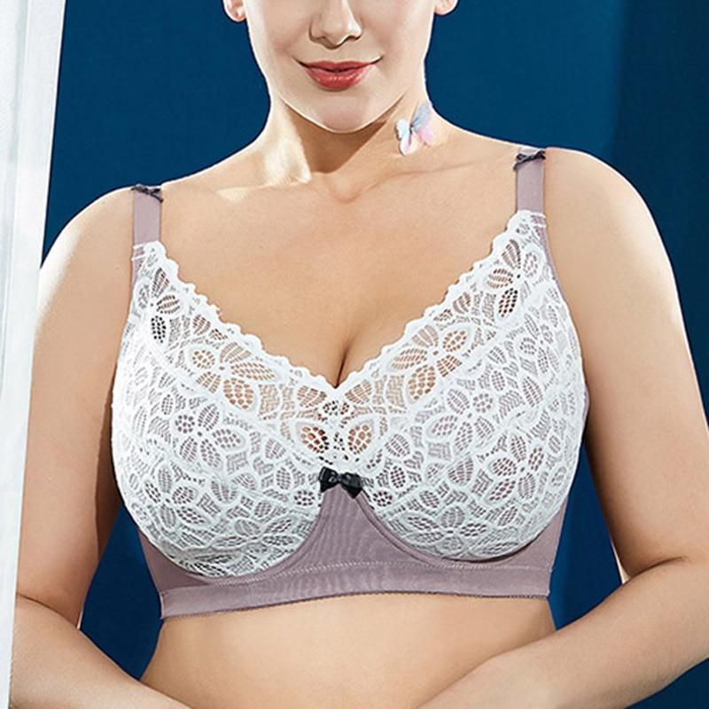 حجم كبير حمالات الصدر للنساء التغطية الكاملة غير مبطن Bralette لينة الكؤوس الدانتيل يصل التطريز مينيميزر مثير الملابس الداخلية تخفيض تخفيض