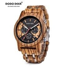 DODO cerf montre pour hommes montres en bois hommes horloge affaires luxe arrêt montre couleur en option avec bois acier inoxydable bande C08 OEM