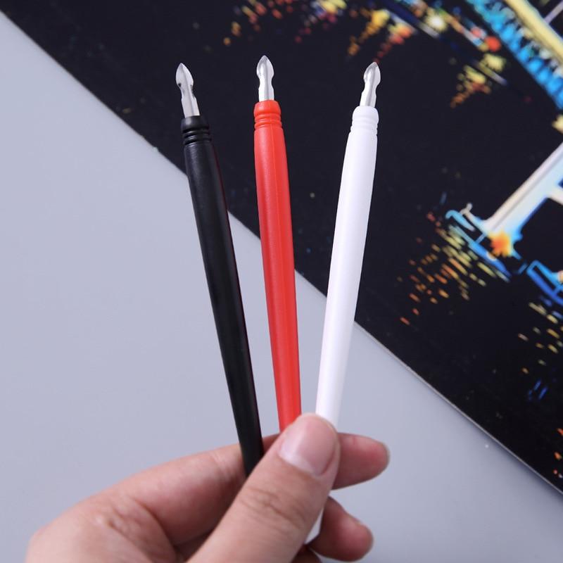 3 unidades de bolígrafo de raspado de cabeza de Metal, cepillo de raspado de plástico, herramienta de raspado, mapa de raspado, bolígrafo especial de papel raspador