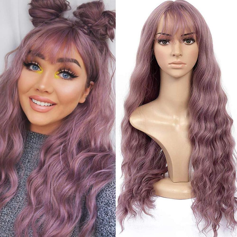 Длинные разноцветные Фиолетовые женские парики блонд единорог с челкой водонепроницаемые термостойкие синтетические парики для женщин аф...