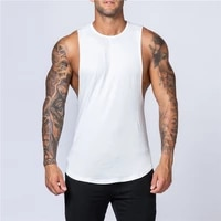 summer blank cotton loose waistcoat vest men singlet men plain bodybuilding fitness sleeveless vest men