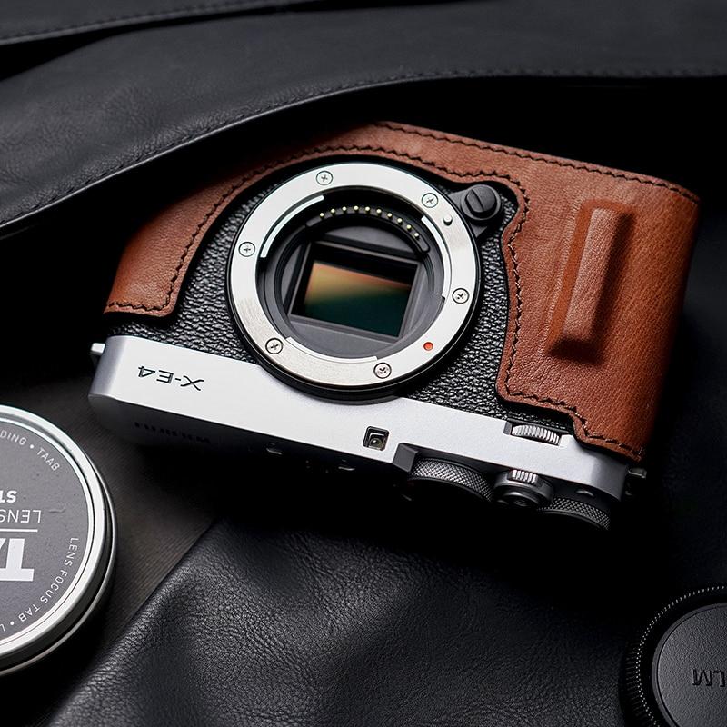 Fuji X-E4 XE4 Camera Mr.Stone  Genuine Leather Camera Case Handle  Half Bag Camera Bodysuit