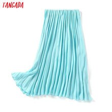 Tangada women candy color pleated midi skirt faldas mujer vintage waist stretch ladies elegant chic mid calf skirts 1Y12