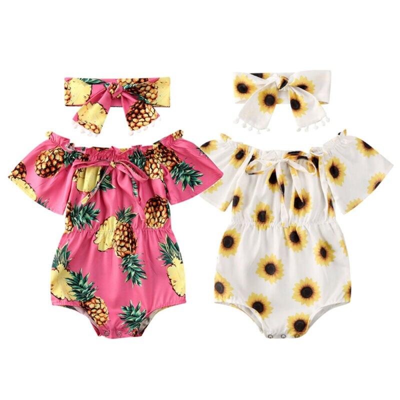 Летняя одежда для малышей; Одежда с цветочным рисунком для маленьких девочек; Боди с открытыми плечами для девочек; Повязка на голову с изоб...