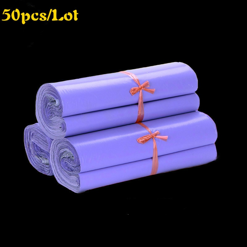 50Pcs Purple Courier Bags Mail Packaging Poly Package Plastic Self-Adhesive Mailing Bag Envelope Shipping Bulk Supplies 38*52cm