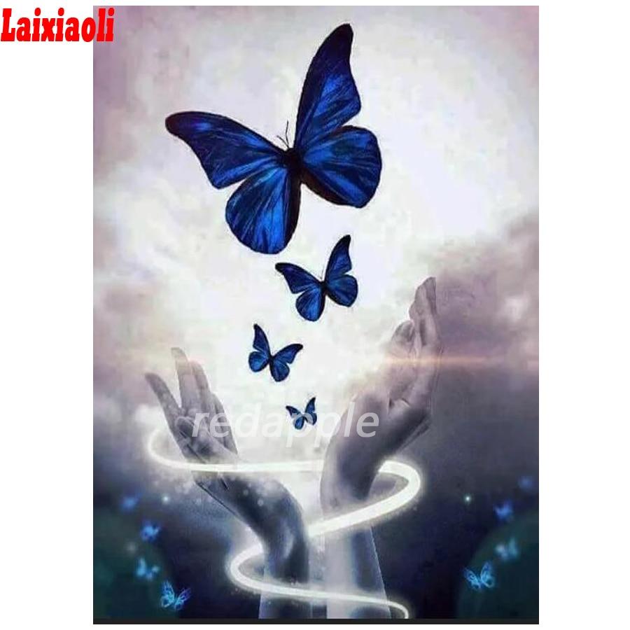 Nueva llegada diamante del bordado de animal mariposa patrón de mano pintura diamante Cruz puntada kjits completa cuadrado mosaico Decoración