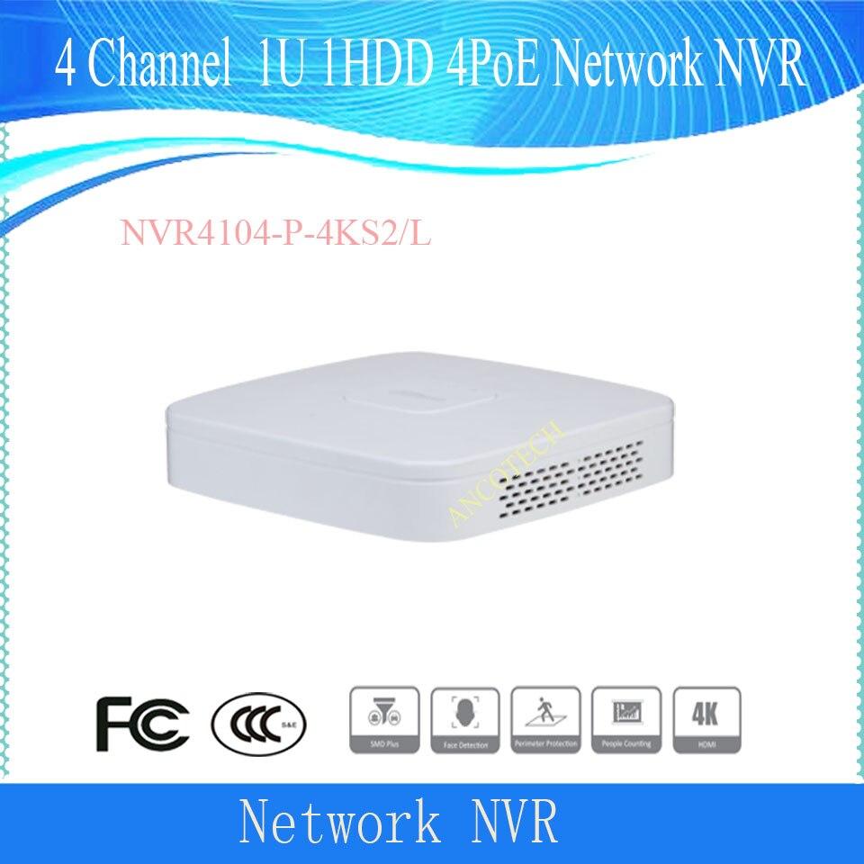 داهوا CCTV 4 قناة الذكية 1U 1HDD 4PoE شبكة مسجل فيديو H.265 DHI-NVR4104-P-4KS2/L