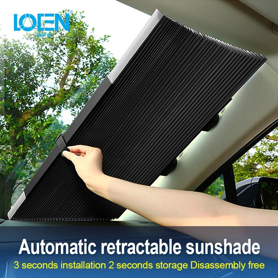 Parasol para ventana de coche, cubierta plegable retráctil para parabrisas, parasol, cortina, parasol para coche, bloqueador Anti-UV para ventana de coche