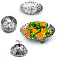 steamer stainless steel folding food steamer retractable handle kitchen cookware utensils steam cooking food fruit basket