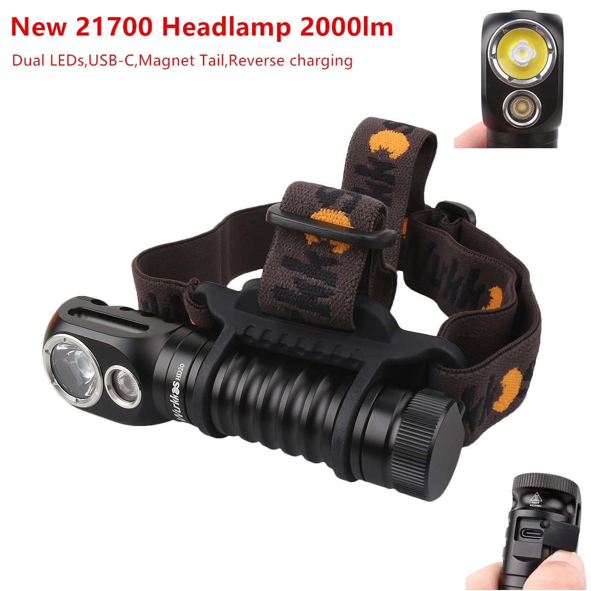 Wurkkos HD20 USB C Rechargeable Headlamp 21700 LED light 2000lm Dual LED LH351D XPL with Reverse Charge Magnetic Tail