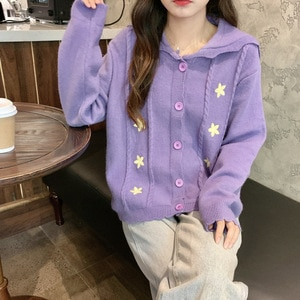 Fannic 2020 Autumn and Winter Loose Solid Color Five-Pointed Star Embroidery Knitted Cardigan Sweater