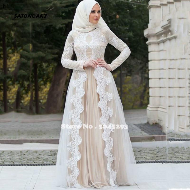Vestido De Novia musulmán bohemio, manga larga, cuello alto, Apliques De encaje,...