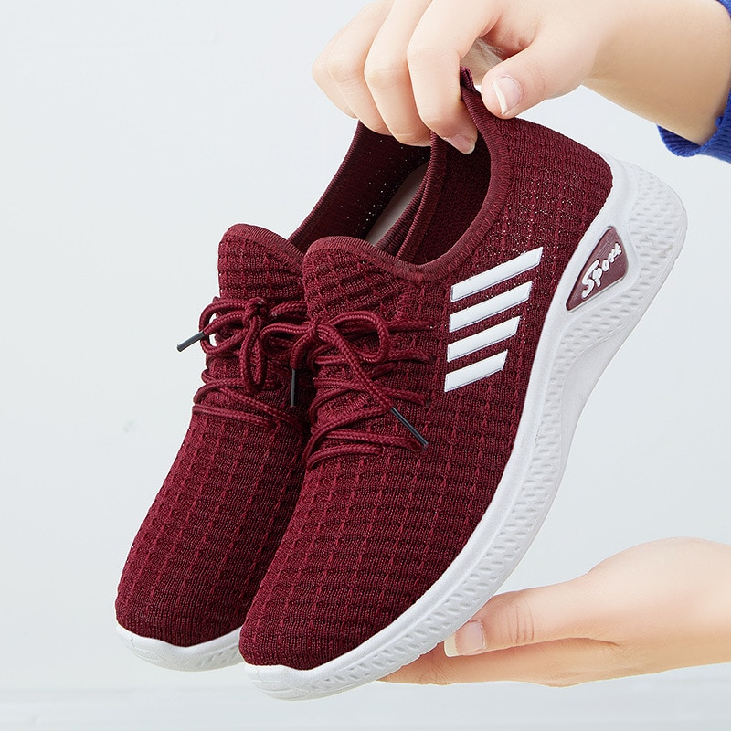Women Sneakers Mesh Vulcanized Shoes Spring Ladies Casual Flats Sneaker Female New Fashion Comfort Light Knitting Shoes 2021 New