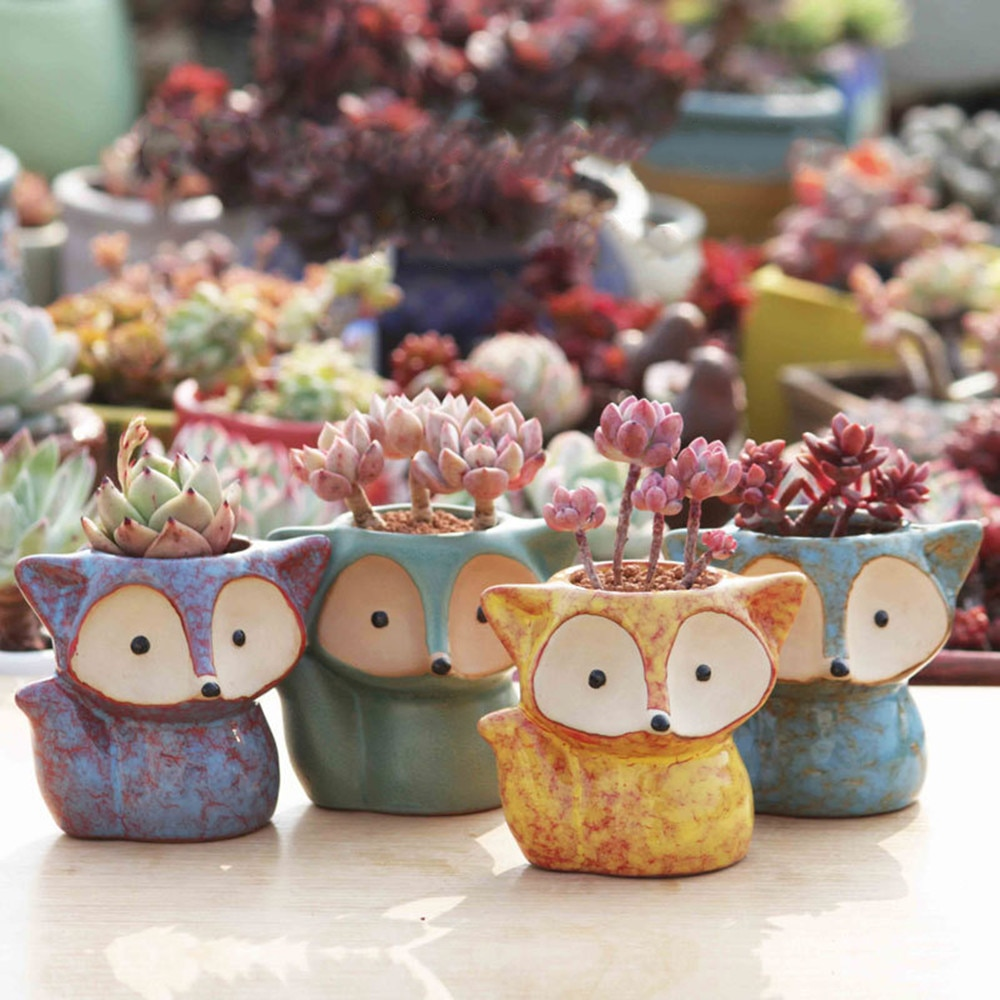 Ceramic Fox Plant Pot Micro Cute Mini Potted Succulents Small Flower Pots Bonsai Cartoon Planter Home Decor