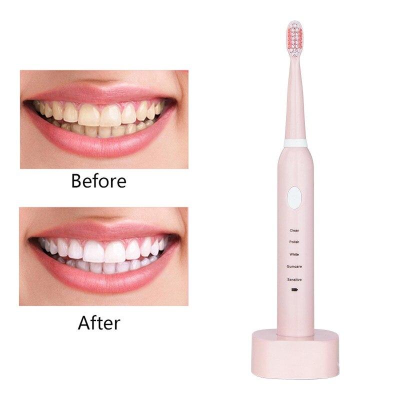 2019 nuevo 5 modos de limpieza de carga cepillo de dientes eléctrico limpieza e higiene bucal blanqueamiento sónico vibración cepillo de dientes eléctrico