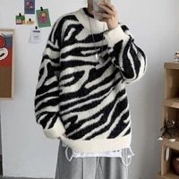 winter striped sweater mens warm fashion retro casual knitted pullover men wild loose korean knitting sweaters mens clothes