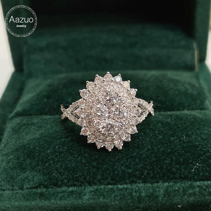 Aazuo-خاتم من الذهب الأبيض عيار 18 قيراطًا مرصع بالألماس الطبيعي الحقيقي 1.20 قيراطًا ، خاتم بيضاوي كبير للنساء ، هدية مثالية لحفلات أعياد الميلاد