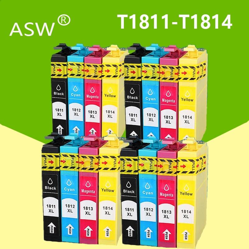 ASW 16 قطعة لإبسون T1811-T1814 الحبر خرطوشة XP212 XP215 XP225 XP312 XP315 XP412 XP415 XP202 XP205 XP302 XP305 XP402 XP405
